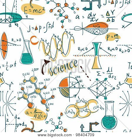 Back to School: science lab objects doodle vintage style sketches seamless pattern, vector illustrat