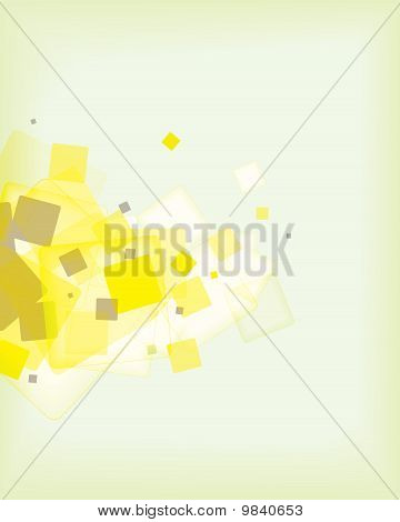 Modern designed abstract green background with square blocks and copyspace poster
