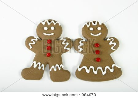 Gingerbread Couple On White