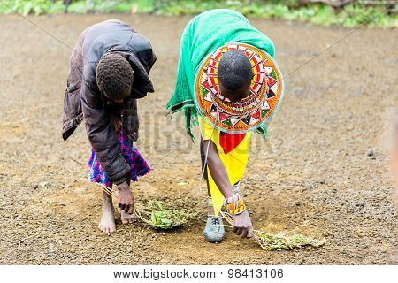 Massai women sweeping the floor doing chores