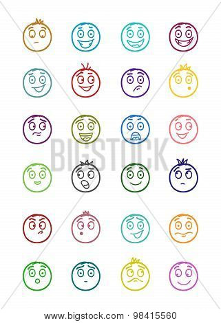 24 Smiles Icons Set 2