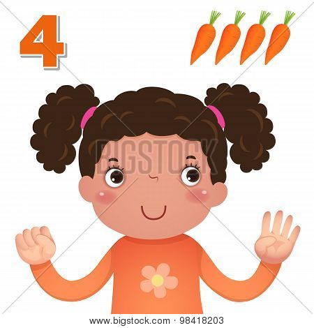 Learn Number And Counting With Kid's Hand Showing The Number Four