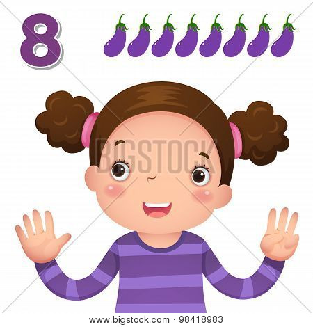 Learn Number And Counting With Kid's Hand Showing The Number Eight