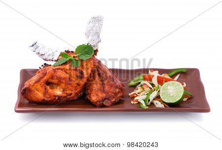Indian Tandoori Chicken Served With Salad