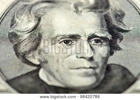 President Andrew Jackson eyes extreme macro on us 20 dollar bill, united states money closeup