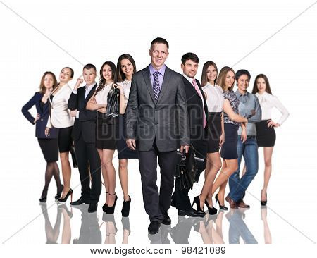 Business team of young businessmen