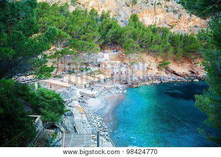 Small Beach At The Sa Calobra Bay