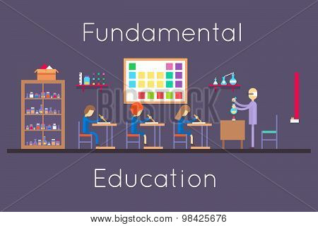 Chemistry education class room flat design