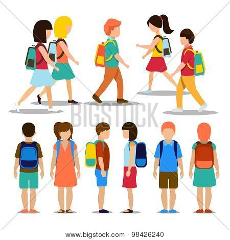 Kids going to school. Student and pupil, education people person, vector illustration poster