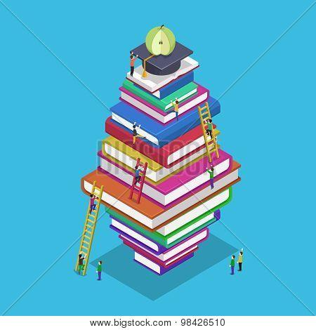 Isometric education graduation back school 3d concept. People scrambling to books