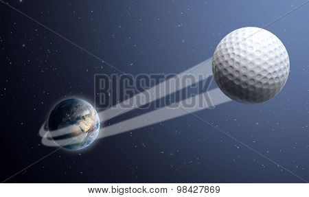 A sporting concept showing a regular golf ball swooshing out and above the earth onto a starry space background poster