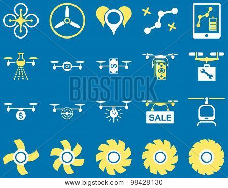 Air drone and quadcopter tool icons. Icon set style: flat vector bicolor images, yellow and white symbols, isolated on a blue background. poster