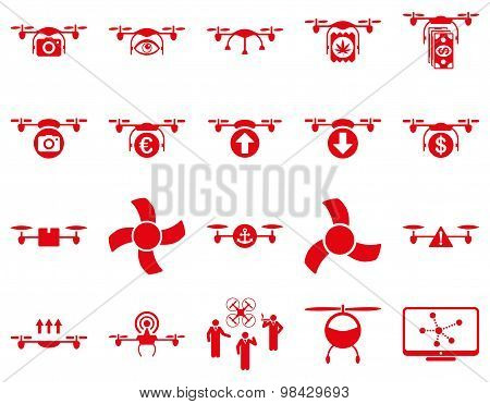 Air drone and quadcopter tool icons. Icon set style: flat vector images, red symbols, isolated on a white background. poster