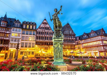 old town square romerberg with Justitia statue in Frankfurt Germany