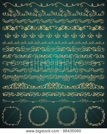 Vector Golden Hand Sketched Seamless Borders, Swirls