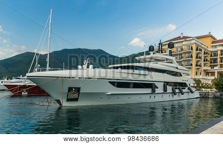 Yacht at Luxury Waterfront Mansion in Porto Montenegro.