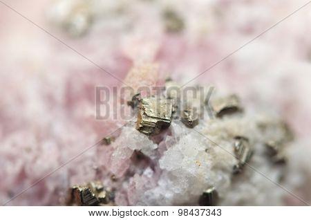 Rhodochrosite Mnco3 With Iron Pyrite Fes2 Macro