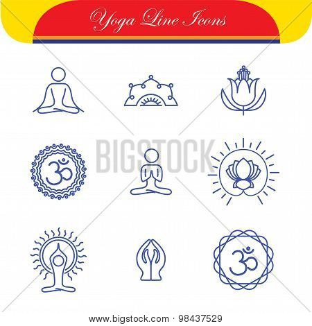Vector Yoga Icons & Round Line Badges - Graphic Design Elements In Outline Style