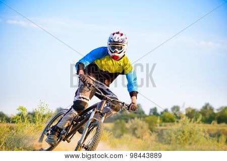 Cyclist Riding the Mountain Bike on the Trail. Extreme Sport Concept