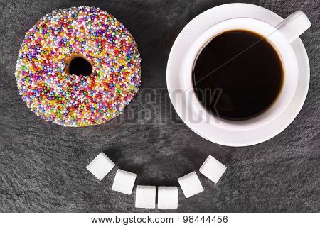 Humorous Donut And Coffee Cup