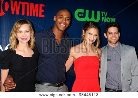 LOS ANGELES - AUG 10:  Calista Flockhart, Mehcad Brooks, Melissa Benoist, Jeremy Jordan at the CBS TCA Summer 2015 Party at the Pacific Design Center on August 10, 2015 in West Hollywood, CA