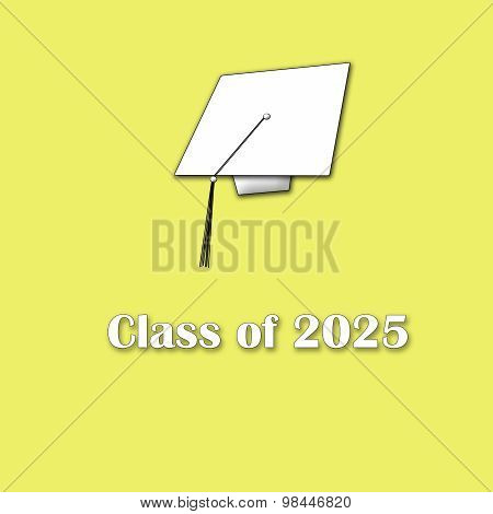 Class of 2025 White on Yellow Single Large