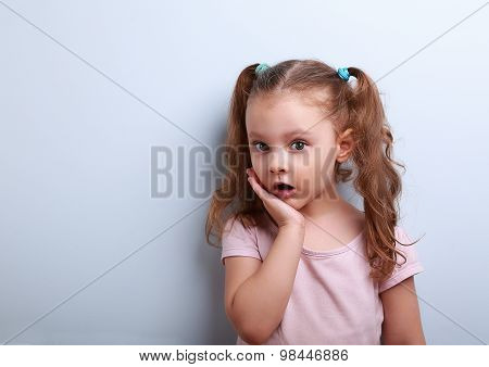 Cute Funny Kid Girl Surprising With Open Mouth