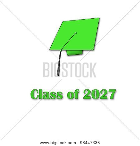 Class of 2027 Green on White Single Large
