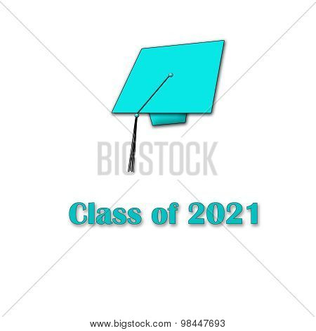 Class of 2021 Blue on White Single Large