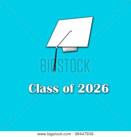Class of 2026 White on Blue Single Large