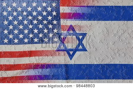 Cracked Blended Usa And Israel Flags