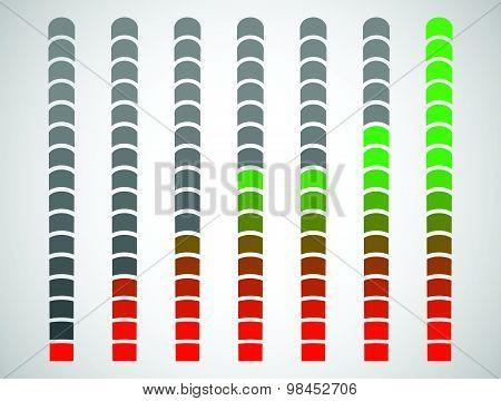 Vector progress bars for measurement concepts. Progression charging. poster