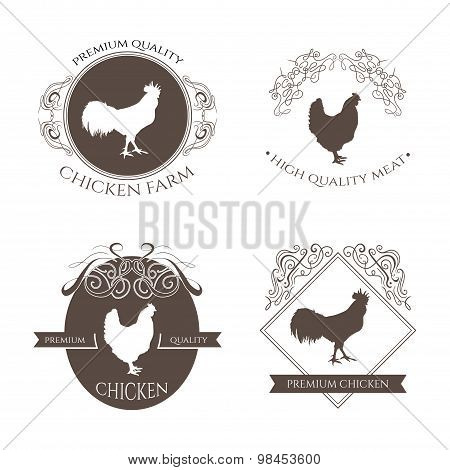 Set chicken and rooster farm logo emblem with calligraphic decorative elements. Natural and fresh fa