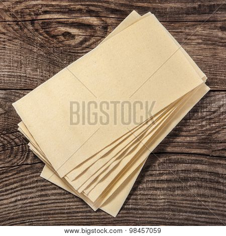 Raw Lasagna Sheets On The Boards