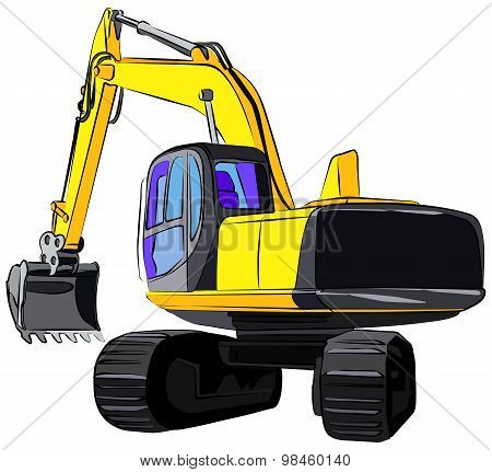 Tracked Excavator, vector illustration