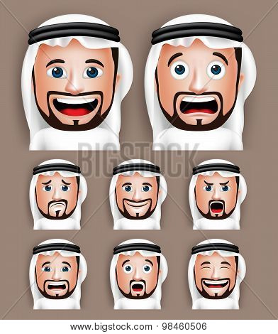 Set of 3D Realistic Saudi Arab Man Head with Different Facial Expressions
