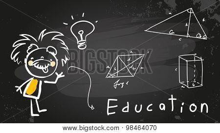 Einstein kid, child student at school. Chalk on blackboard educational vector doodle, sketch.