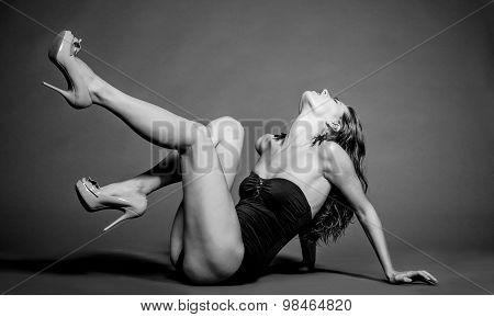 Woman model in swimsuit