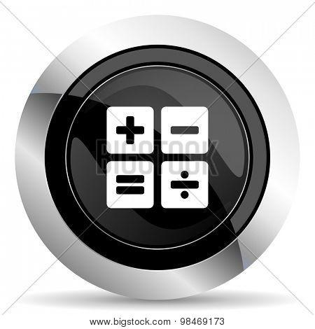 calculator icon, black chrome button, calc sign