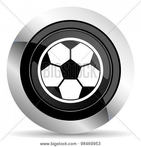 soccer icon, black chrome button, football sign