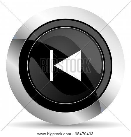 previous icon, black chrome button