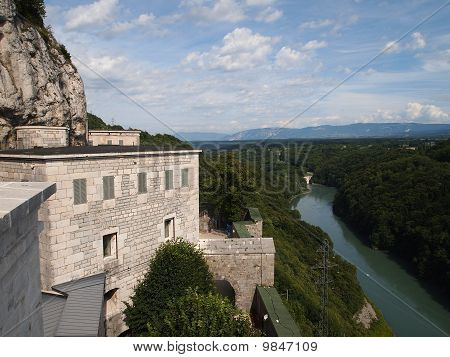 View From The French Fort Of The Ecluse On The Rivers And Forests, France, The Alps
