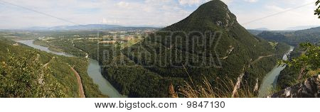 View Of The Swiss Mountains And Rivers With Bridge From The French Fort Of The Ecluse, France, The A