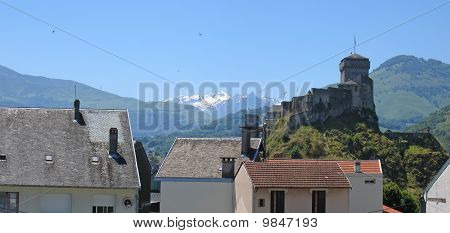 Detail Of House And Medieval Castle From The Old Lourdes Christian City Woldwide Famous For His Pilg