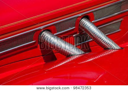 Red automobile exhaust system componen-corrugated pipe