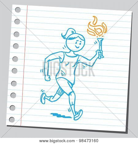 Athlete woman running with torch