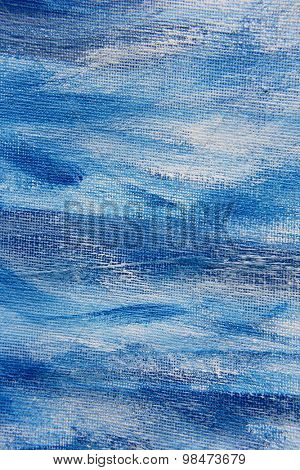 Abstract Blue Watercolor on Canvas 4