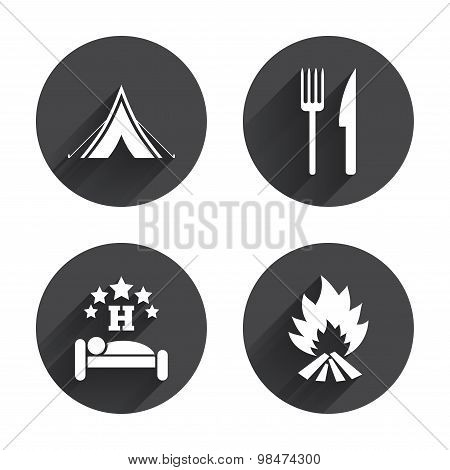 Food, sleep, camping tent and fire signs.