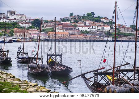 Fleet Of Port Boats On The Douro River