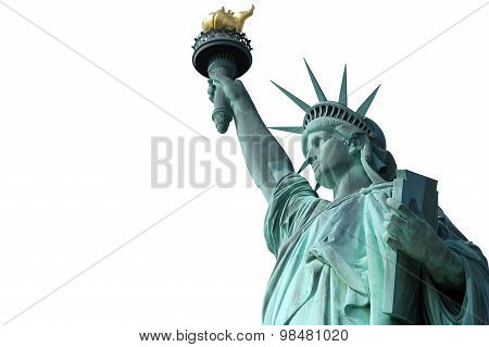 Statue of Liberty on Island in New York - isolated on white background